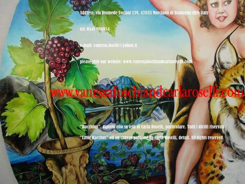 Sangiovese. Uva Sangiovese, vitigno romagnolo, nel dipinto Bacchino di Carla Roselli, tecnica olio su tela- Le Pittrici degli Dei