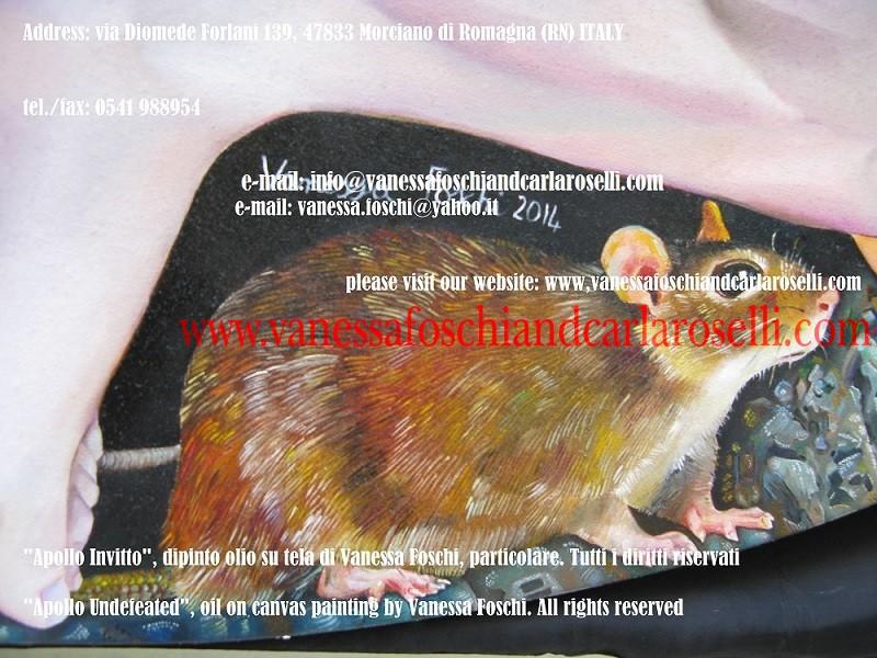 Souris en Sminthios Apollo, tableau huile sur toile peint par Vanessa Foschi