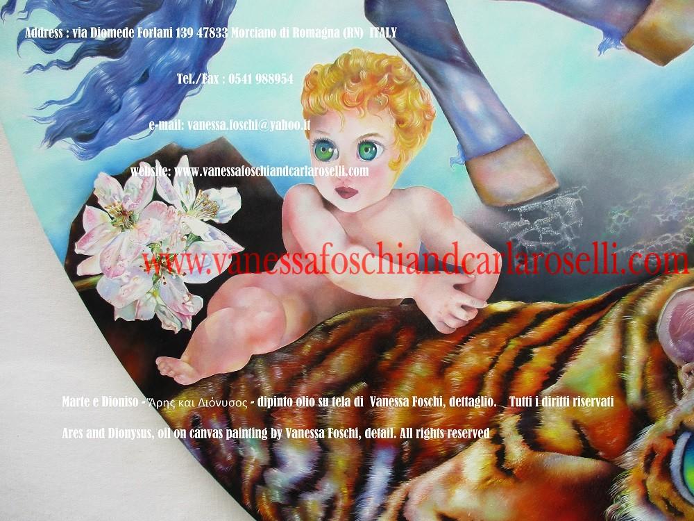 Ares and Dionysus, oil on canvas painting by Vanessa Foschi - Ἄρης και Διόνυσος - Marte e Dioniso, dipinto olio su tela di Vanessa Foschi, piccolo Dioniso e fiori di melo