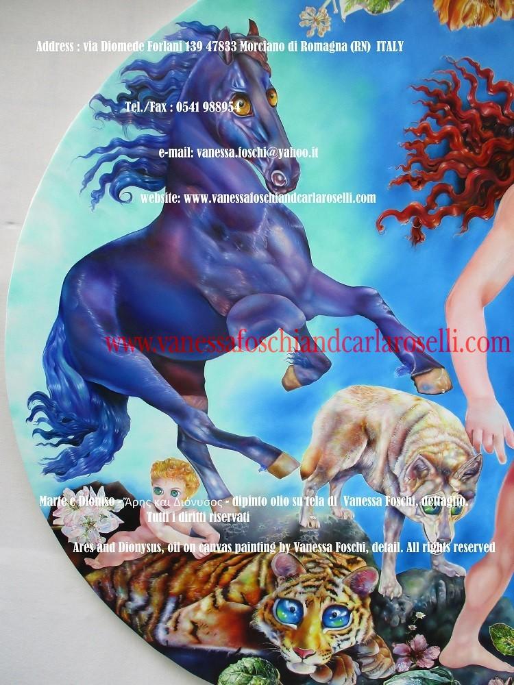 Ares and Dionysus, oil on canvas painting by Vanessa Foschi, horse - Ἄρης και Διόνυσος - Marte e Dioniso, cavallo di Ares, dipinto olio su tela di Vanessa Foschi