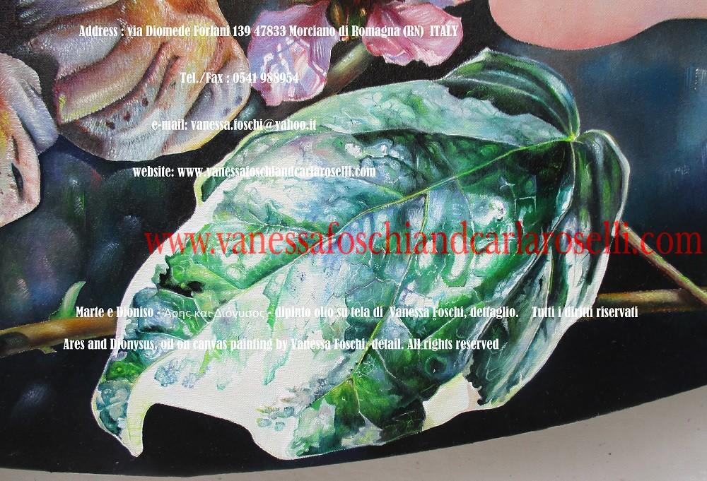 Ares and Dionysus, Ἄρης και Διόνυσος, oil on canvas painting by Vanessa Foschi ,ivy leaf - Marte e Dioniso, foglia di edera, dipinto olio su tela di Vanessa Foschi