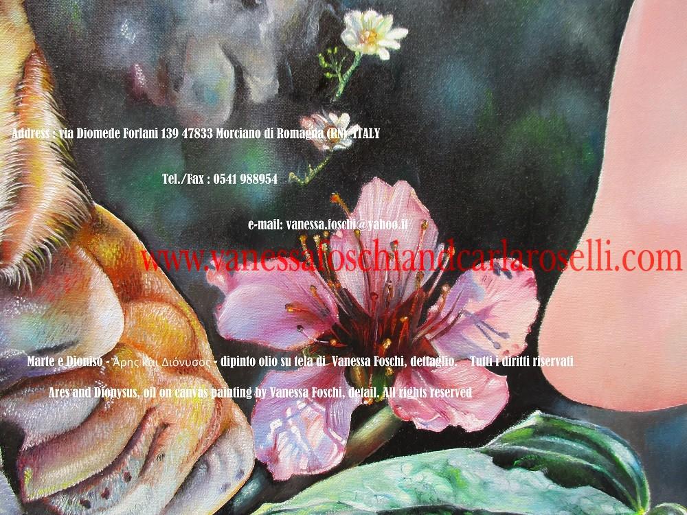 Ares and Dionysus, oil on canvas painting by Vanessa Foschi, peach flower - Marte e Dioniso, fiore di pesco, dipinto olio su tela di Vanessa Foschi - Ἄρης και Διόνυσος