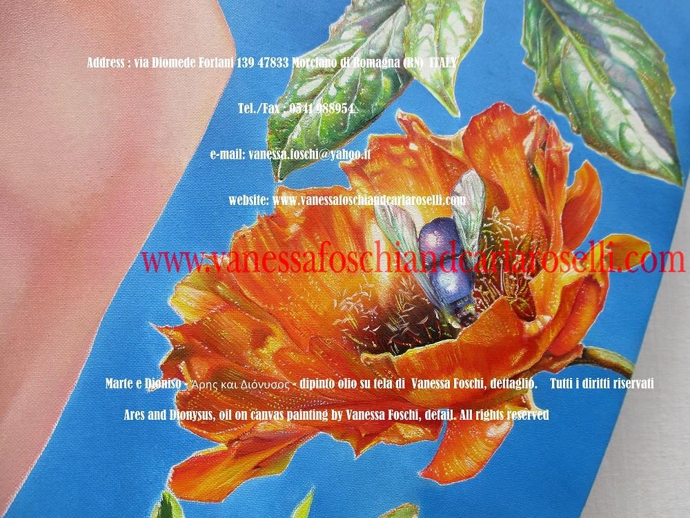 Ares, oil on canvas painting by Vanessa Foschi - Marte e Dioniso, dipinto olio su tela della pittrice Vanessa Foschi di Morciano, opunzia in fiore