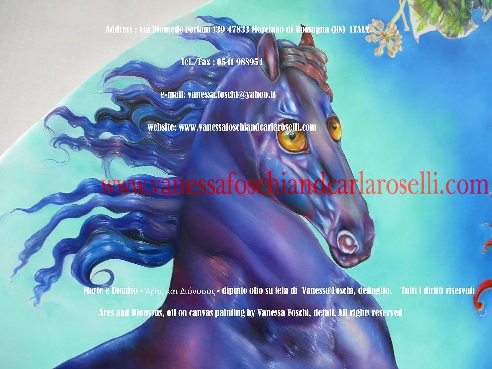 Cavallo di Ares dio della guerra, dipinto di Vanessa Foschi pittrice di Morciano di Romagna - Ἄρης και Διόνυσος