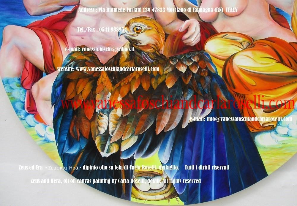 Zeus ed Era - dipinto olio su tela della pittrice Carla Roselli di Morciano, aquila sul nido - Zeus and Hera by paintress Carla Roselli - Tableau huile sur toile par peintre Carla Roselli