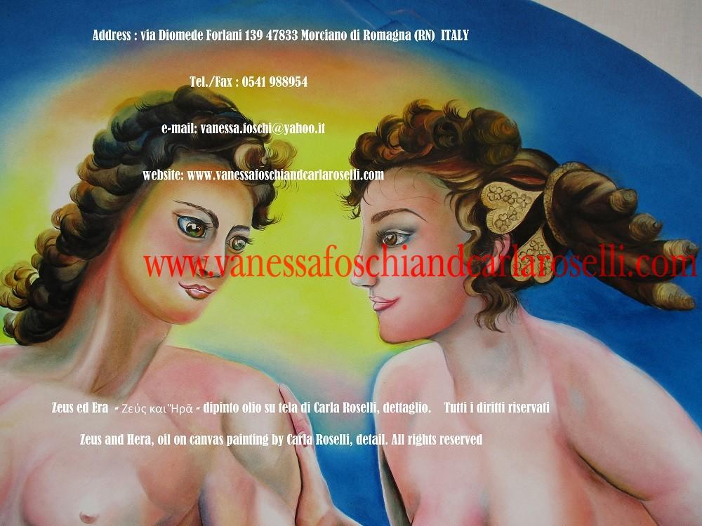 Zeus ed Era - dipinto olio su tela della pittrice Carla Roselli di Morciano, aureo diadema - Greek gods Zeus and Hera by paintress Carla Roselli -Ζεύς και Ἥρᾱ
