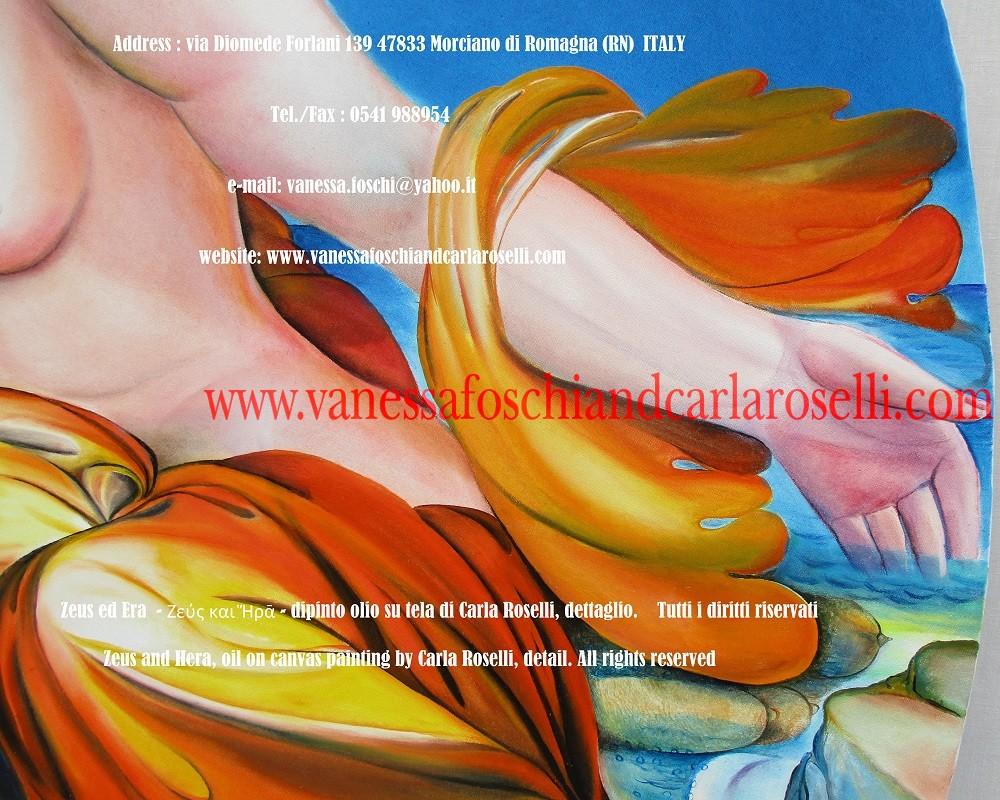 Zeus ed Era - dipinto olio su tela della pittrice Carla Roselli di Morciano, crocea veste della regina degli dei - Zeus and Hera by paintress Carla Roselli