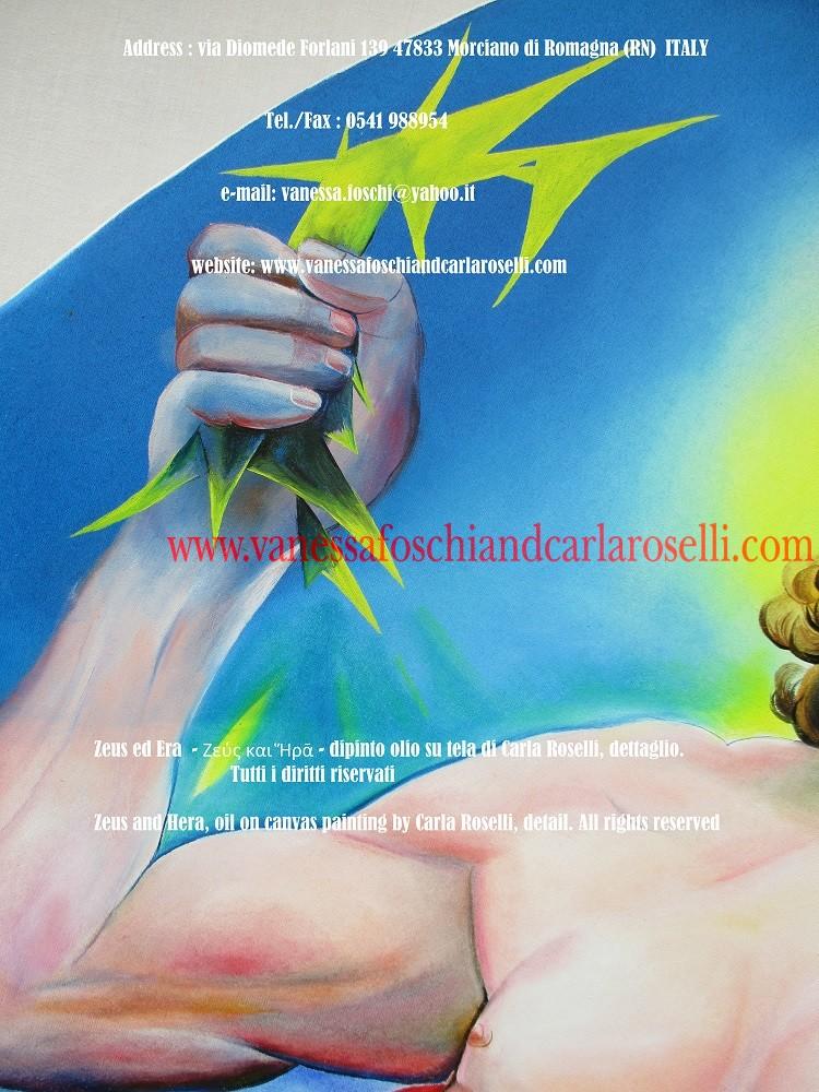 Zeus ed Era - dipinto olio su tela della pittrice Carla Roselli di Morciano, folgore - Zeus and Hera by paintress Carla Roselli