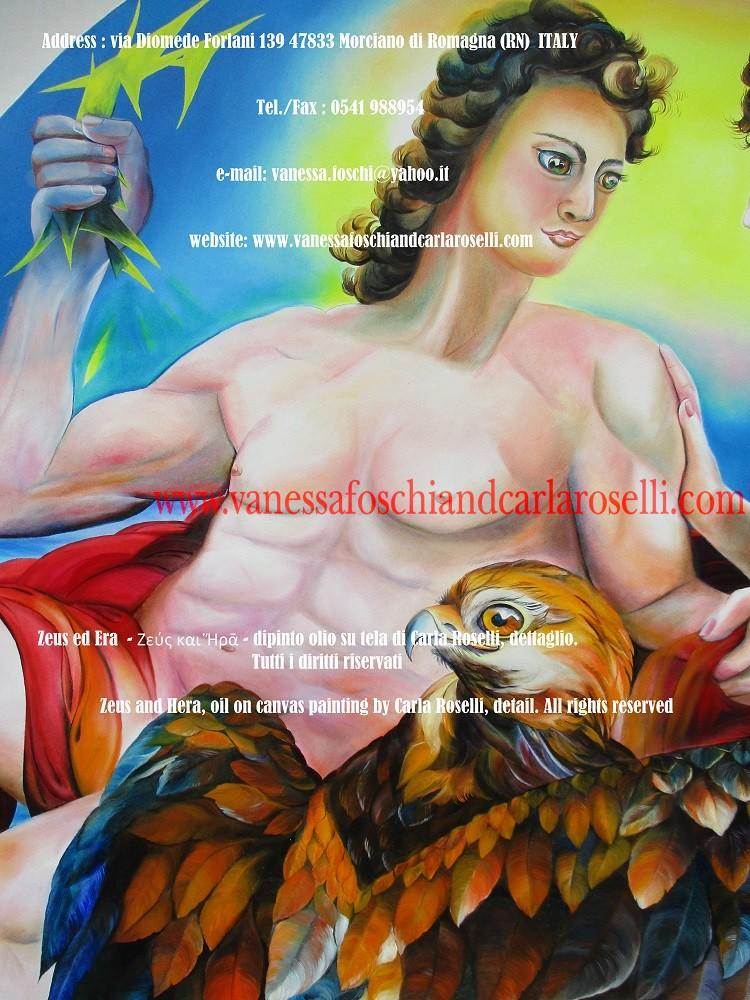 Zeus ed Era - dipinto olio su tela della pittrice Carla Roselli di Morciano, fulmine - Zeus and Hera by paintress Carla Roselli - Ζεύς και Ἥρᾱ - Tableau par peintre Carla Roselli