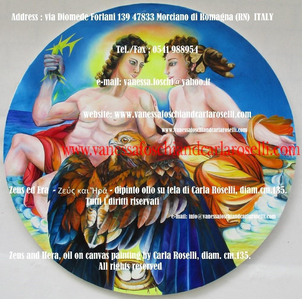 Zeus ed Era - dipinto olio su tela della pittrice Carla Roselli di Morciano - tableau huile sur toile par Carla Roselli- Zeus and Hera by paintress Carla Roselli - Ζεύς και Ἥρᾱ