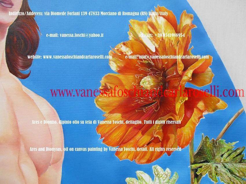 Opunzia in fiore dipinta da Vanessa Foschi nel quadro dedicato al dio Ares Enialio (Enyalios) figlio di Zeus ed Era