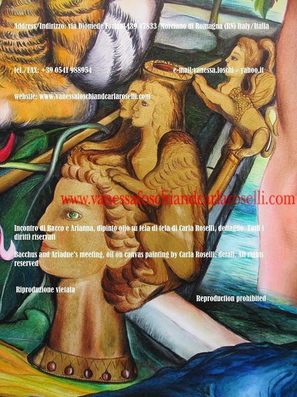 Incontro di Bacco e Arianna a Nasso, dipinto olio su tela di Carla Roselli, brocca d'oro, rhyton- Bacchus and Ariadne meeting, oil on canvas painting by Carla Roselli