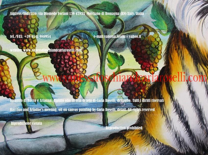 Incontro di Bacco e Arianna, dipinto olio su tela di Carla Roselli, uva - Bacchus and Ariadne encounter, oil on canvas painting by Carla Roselli