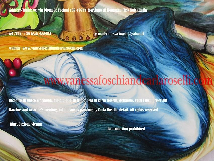 Incontro di Bacco e Arianna, dipinto olio su tela di Carla Roselli, vestito azzurro - Bacchus and Ariadne encounter, oil on canvas painting by Carla Roselli