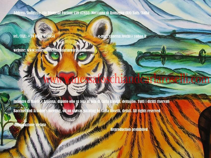 Tigre, Incontro di Bacco e Arianna, dipinto olio su tela di Carla Roselli - Tiger, Bacchus and Ariadne encounter, oil on canvas painting by Carla Roselli
