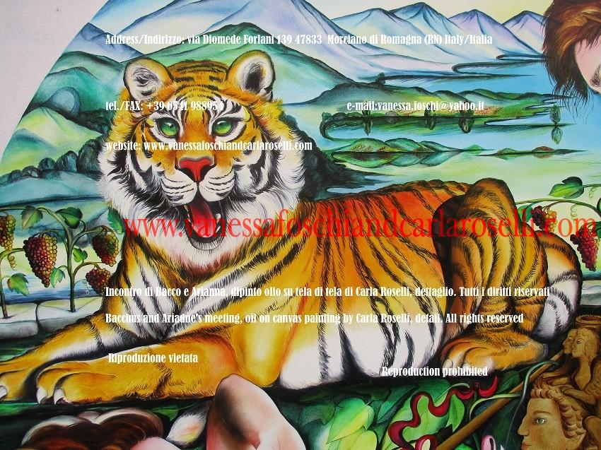 Tigre di Dioniso, Incontro di Bacco e Arianna, dipinto di Carla Roselli