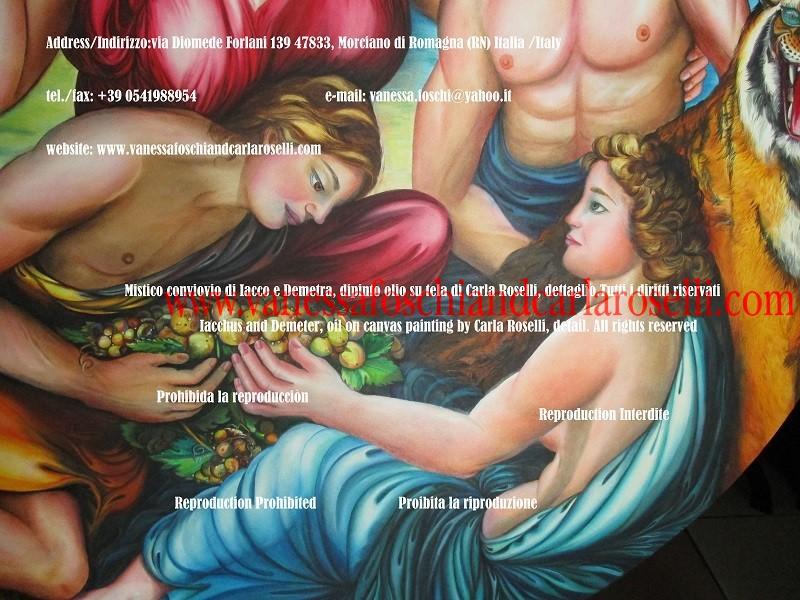 Dionysos, sacri misteri eleusini, dipinto olio su tela di Carla Roselli, nata a Mondaino