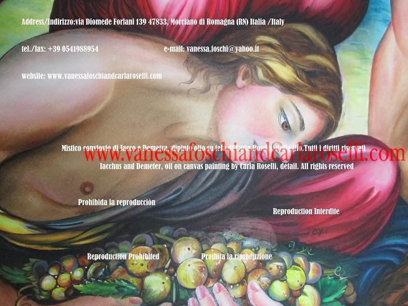 Dionysus, iniziazione ai misteri, dipinto di Carla Roselli, tecnica olio su tela