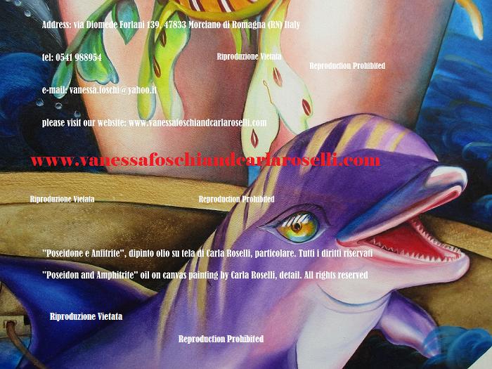 Flora e Fauna. Delfino nel dipinto Nettuno di Carla Roselli da Morciano Di Romagna, tecnica olio su tela