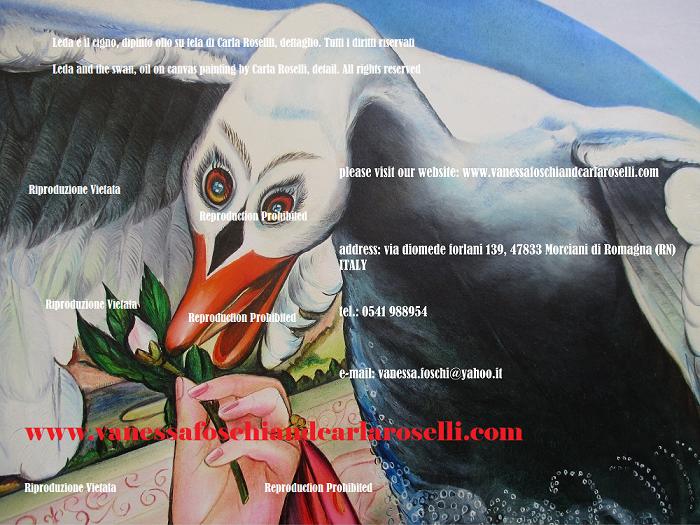 Cigno nel dipinto Zeus e Leda di Carla Roselli, tecnica olio su tela- Swan in the art of Carla Roselli