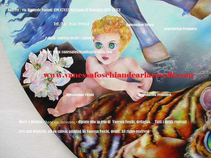 Fiori di melo, piccolo Dioniso a cavallo di una tigre, dettaglio del dipinto Ares di Vanessa Foschi da Morciano di Romagna, tecnica olio su tela, dimensioni cm.150 di diametro