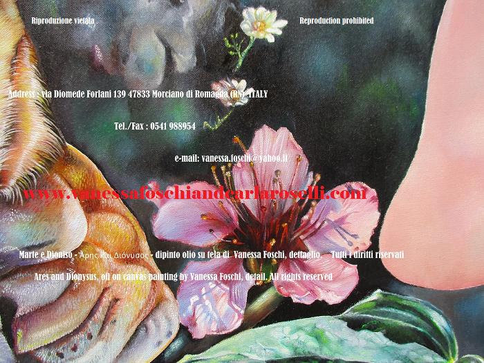 Fiore di pesco nel dipinto Ares di Vanessa Foschi da Morciano, tecnica olio su tela