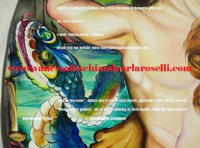 Rea, dea leone, dipinto di Carla Roselli देवी शेर, कैनवास पर चित्रित, साँप, painting by Carla Roselli