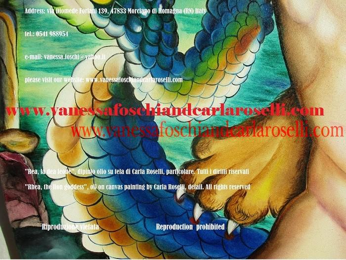 Rea madre degli dei, dea leone, dipinto di Carla Roselli देवी शेर, कैनवास पर चित्रित, साँप, painting by Carla Roselli