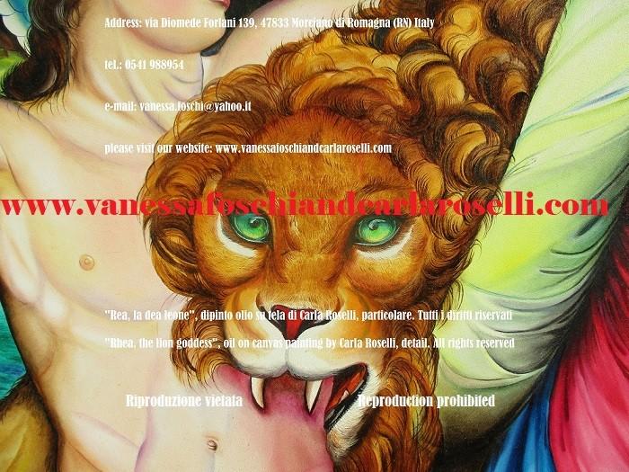 Rea madre Berecinzia, madre degli dei, dea leone, dipinto di Carla Roselli देवी शेर, कैनवास पर चित्रित, painting by Carla Roselli
