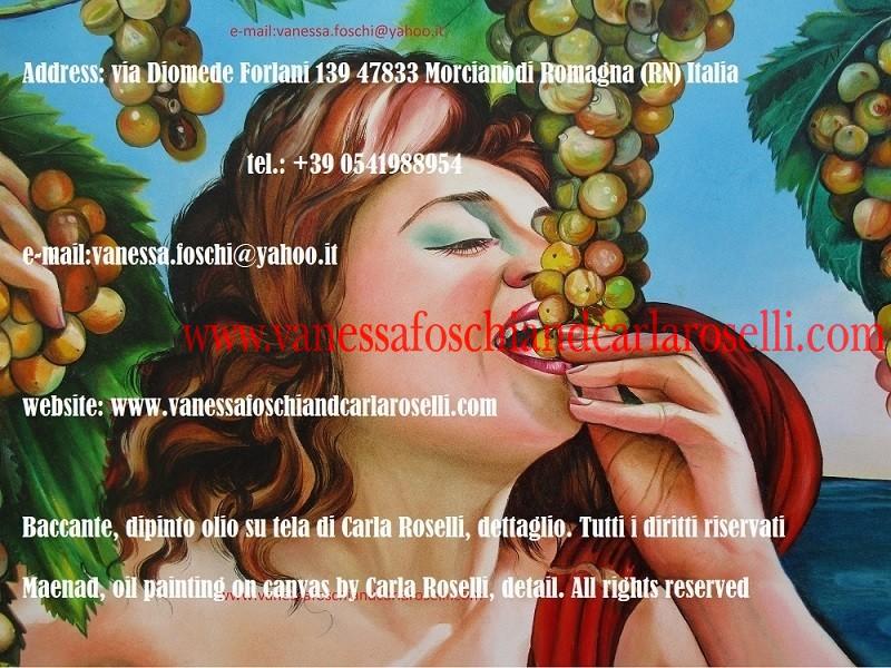 Baccante con uva, Menade, dipinto di Carla Roselli, pittore, mitologia - Bacchante, Bassarid, oil painting on canvas by Carla Roselli