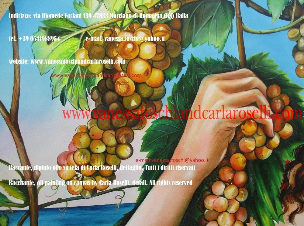 Uva, Menade, Baccante, Bassaride, dipinto olio su tela Carla Roselli, pittore