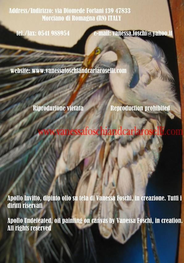 Airone,in creazione, dettaglio da Apollo Invitto, opera di Vanessa Foschi. Painters. Mythology