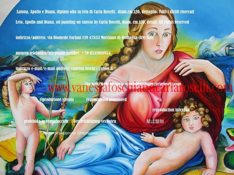 Dea Latona con piccoli Apollo e Diana, dipinto della pittrice del comune di Morciano di Romagna Carla Roselli