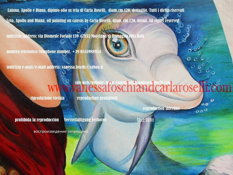 Delfino, dettaglio del dipinto Latona, Apollo e Diana di Carla Roselli - Dolphin painted by Carla Roselli - mythology