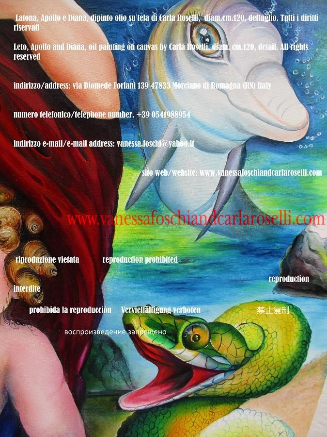 Delfino e drago di Pito, creature mitologiche dipinte da Carla Roselli