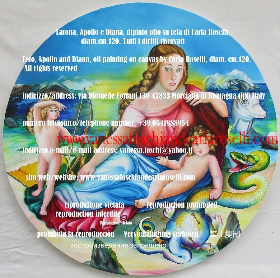 Latona Apollo e Diana, dipinto della pittrice Carla Roselli da Morciano di Romagna- Mitologia - Goddess Leto, Apollo and Diana, oil painting on canvas by Carla Roselli. mythology