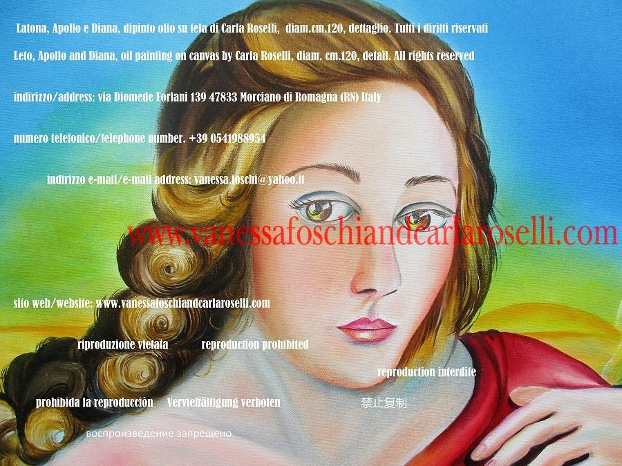Latona, dea figlia dei Titani Keo Coios e Febe, madre di Apollo e Diana - Leto, daughter of Titans Coeus and Phoebe, mother of Apollo and Diana, painting by Carla Roselli