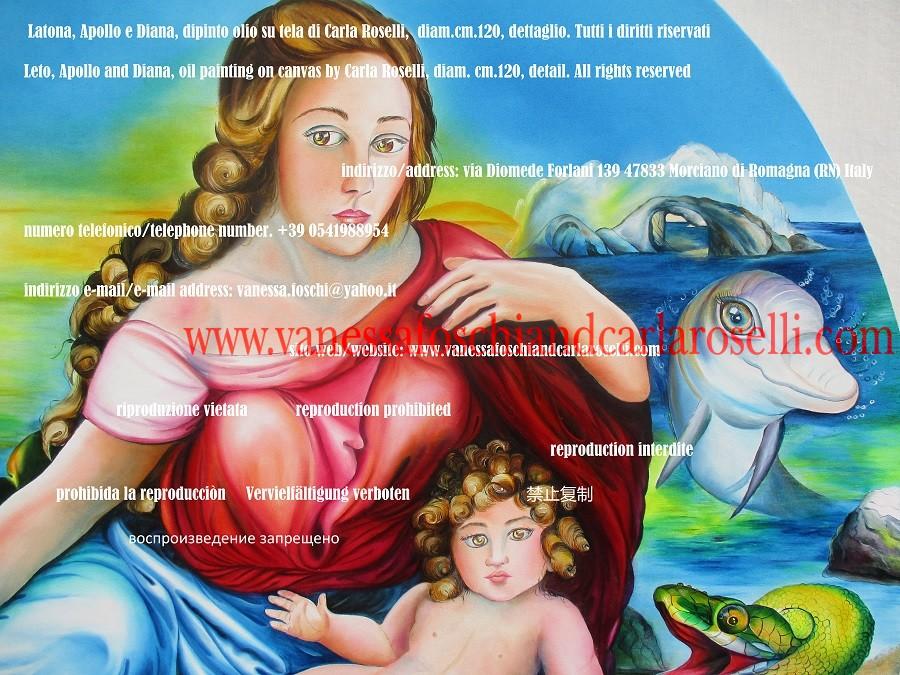 Latona, piccola Artemis e drago di Pito, dipinto di Carla Roselli
