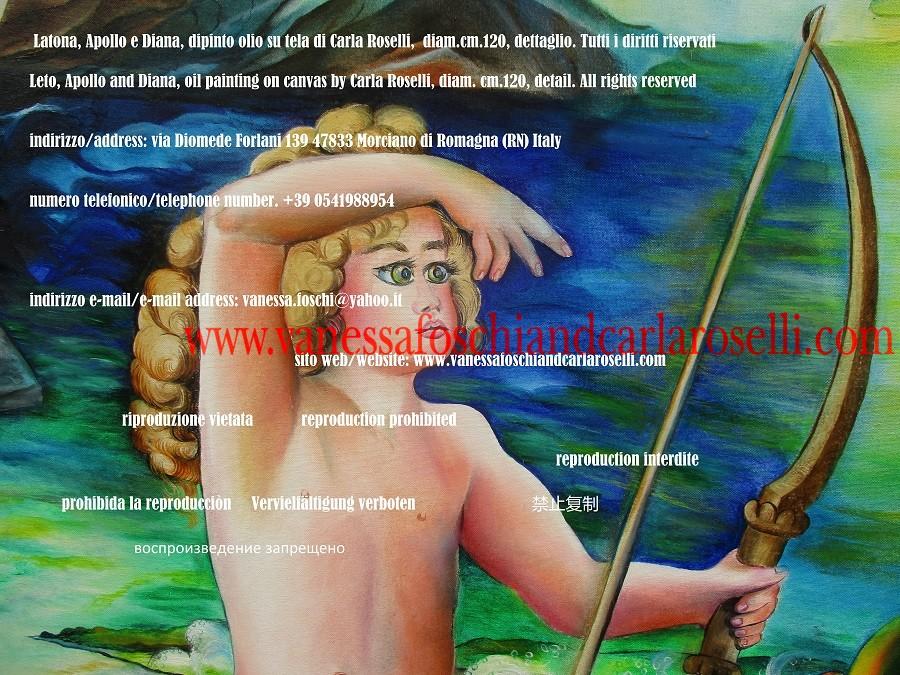 Piccolo Apollo col suo arco, dipinto di Carla Roselli - Little Apollo with his bow, oil painting on canvas by Carla Roselli
