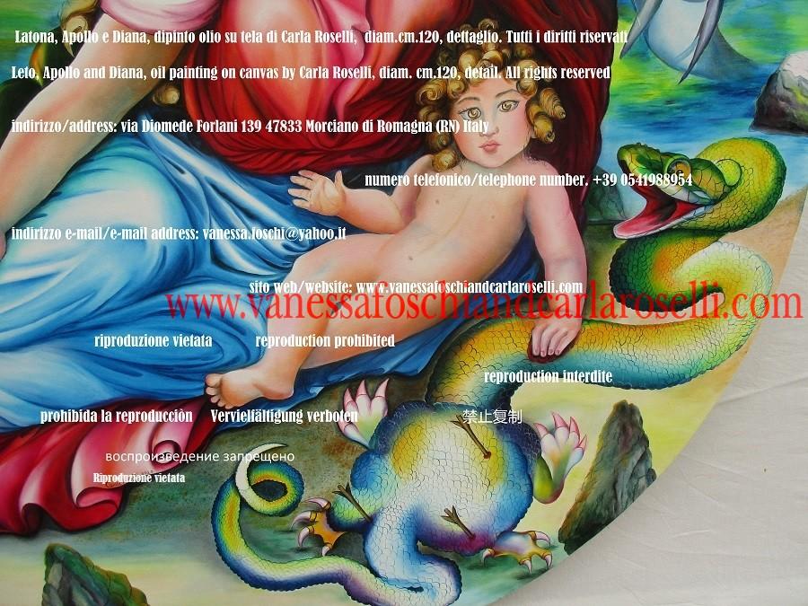Python, she-dragon of Delphi, painted by Carla Roselli - Dipinto di Carla Roselli, Pito, dragonessa Dèlfina, grande serpente drago di Pito ucciso da Apollo