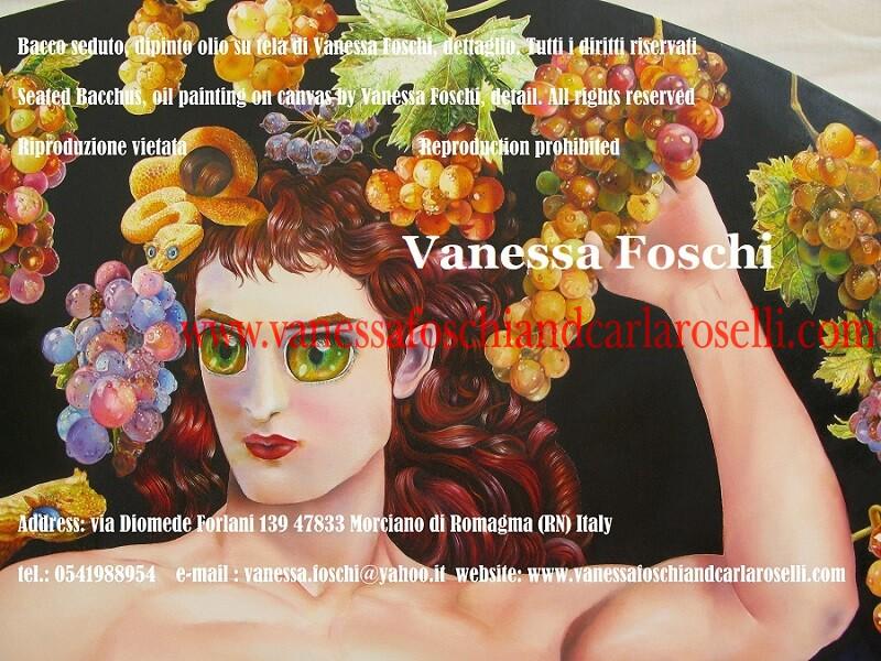 Bacchus seated, Bacchus assis, Bacco seduto di Vanessa Foschi, pittore italiano, quadro tondo a tecnica olio su tela, diam. cm 150, dettaglio, corona di grappoli