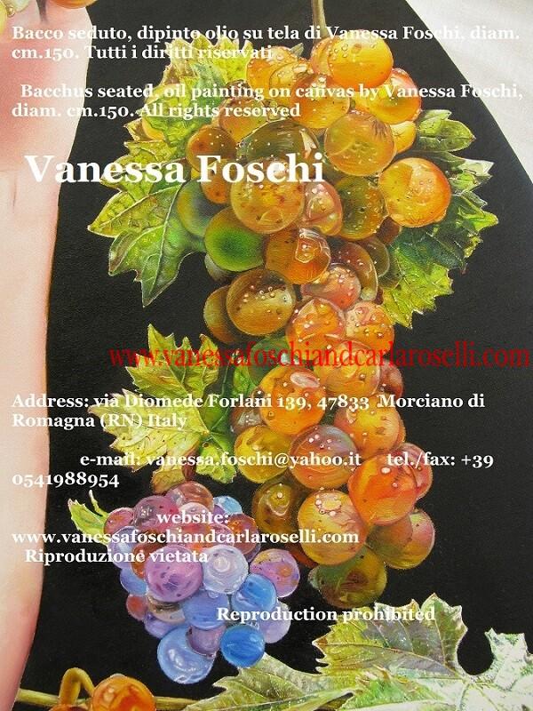 Bacchus seated by Vanessa Foschi, beautiful grapes, Bacco seduto di Vanessa Foschi , dipinto olio su tela, uva moscatello
