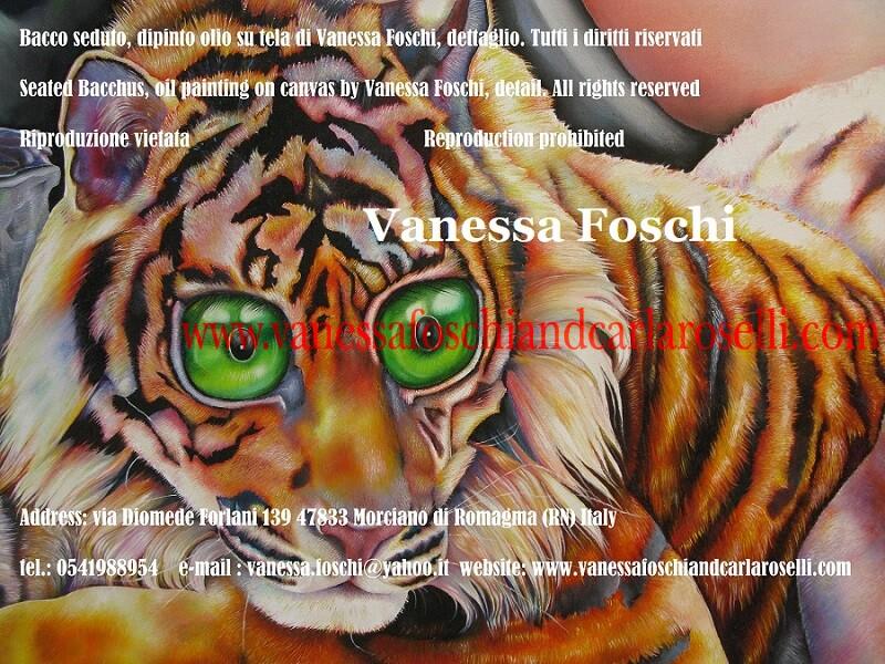 Bacchus seated by Vanessa Foshi, detail, Ravissant tigre peint par Vanessa Foschi, Bellissima tigre dipinta da Vanessa Foschi, particolare del dipinto Bacco Seduto