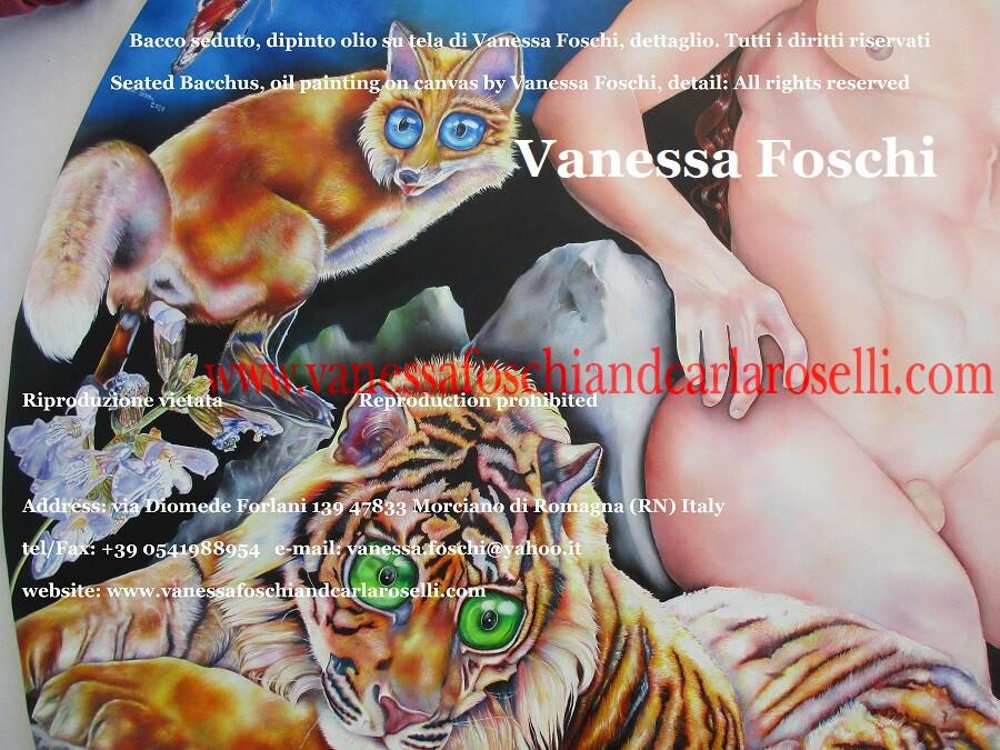 Bacco, Bacco seduto, Lyaeus, Lieo, il liberatore dagli affanni, dipinto olio su tela di Vanessa Foschi, dettaglio