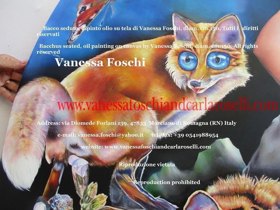 Bacco Dioniso seduto, dettaglio, volpe, quadro olio su tela dipinto da Vanessa Foschi, pittore italiano, arte contemporanea