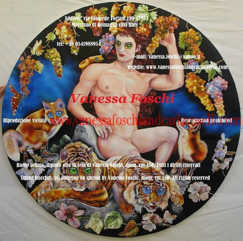 Bacco in trono, Bacco seduto, dipinto olio su tela di Vanessa Foschi, Bacchus on the throne, oil painting on canvas by Vanessa Foschi, diam. cm.159