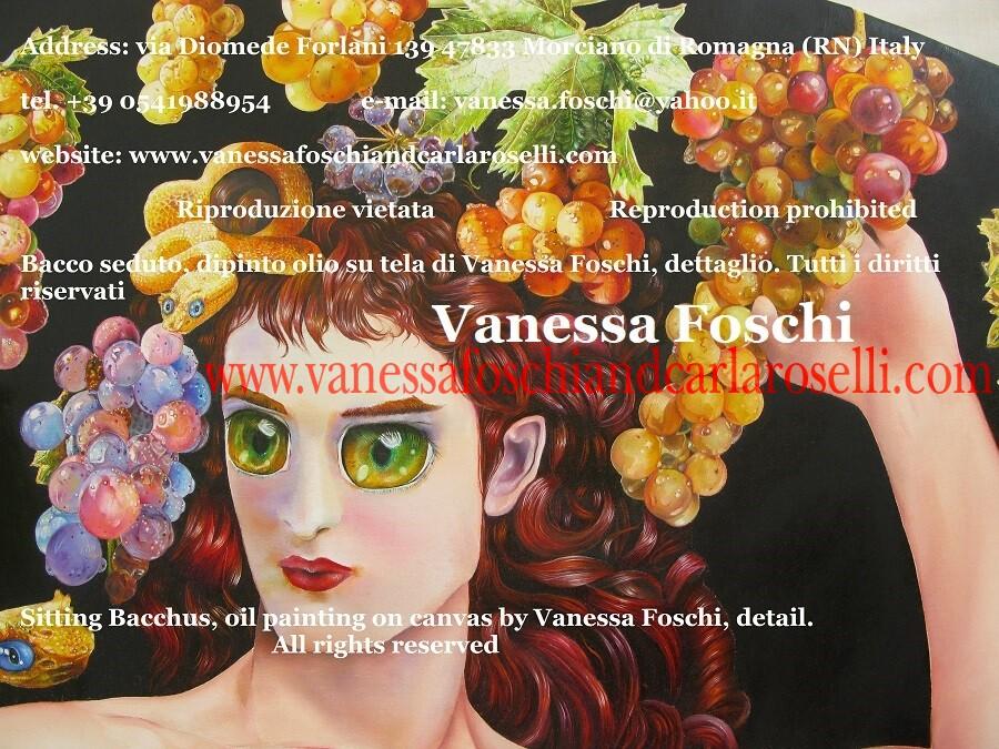 Bacco seduto, dipinto olio su tela di Vanessa Foschi, diam. cm 150