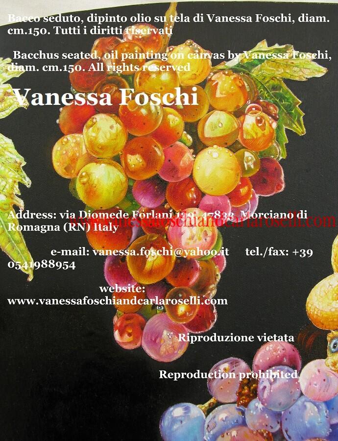 Bacco seduto, dipinto olio su tela di Vanessa Foschi, bellissimo grappolo di Moscatello - Bacchus seated, oil painting on canvas by Vanessa Foschi, grapes