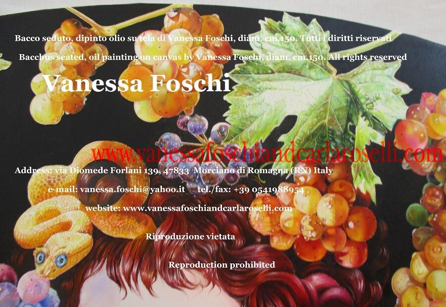 Bacco seduto, dipinto olio su tela di Vanessa Foschi, corona di serpenti, uva e corimbi