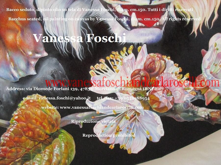 Bacco seduto, dipinto olio su tela di Vanessa Foschi, fiore di albicocco. Seated Dionysus, painting by Vanessa Foschi, apricot flower-contemporary art